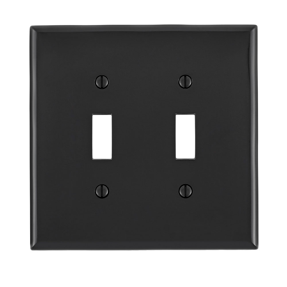 Leviton PJ2-E 2-Gang Toggle Device Midway Size Thermoplastic Nylon Device Mount Black Switch Wallplate