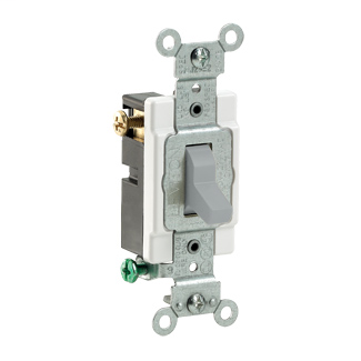 15 Amp, 120/277 Volt, Toggle 3-Way AC Quiet Switch, Commercial Spec Grade, Grounding, Side Wired, - Gray