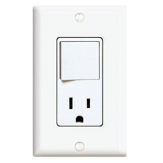 Leviton 5645-W 120 Volt 15 Amp NEMA 5-15R 3-Way 1/2 Hp White Thermoplastic Decorator Combination Switch and Receptacle