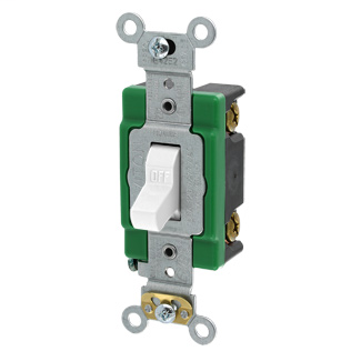 30 Amp, 120/277 Volt, Toggle Single-Pole AC Quiet Switch, Extra Heavy Duty Spec Grade, Self Grounding, Back & Side Wired - WHITE