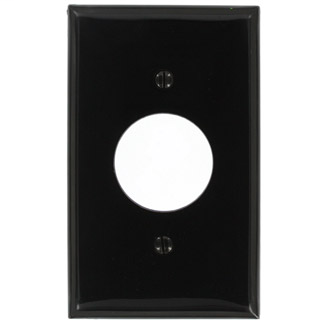 Leviton 80704-E 1-Gang Single 1.406 Inch Hole Device Mount Receptacle Standard Size Black Wallplate