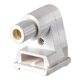 Leviton 2536 1000 Volt 660 W White Thermoset Slide-On Lock-On Pedestal 1-Pin Standard Fluorescent Lampholder