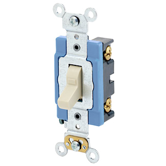 15 Amp, 120 Volt, Toggle Lighted Handle - Illuminated OFF Single-Pole AC Quiet Switch, Industrial Grade, Self Grounding, Back & Side Wired, - Ivory