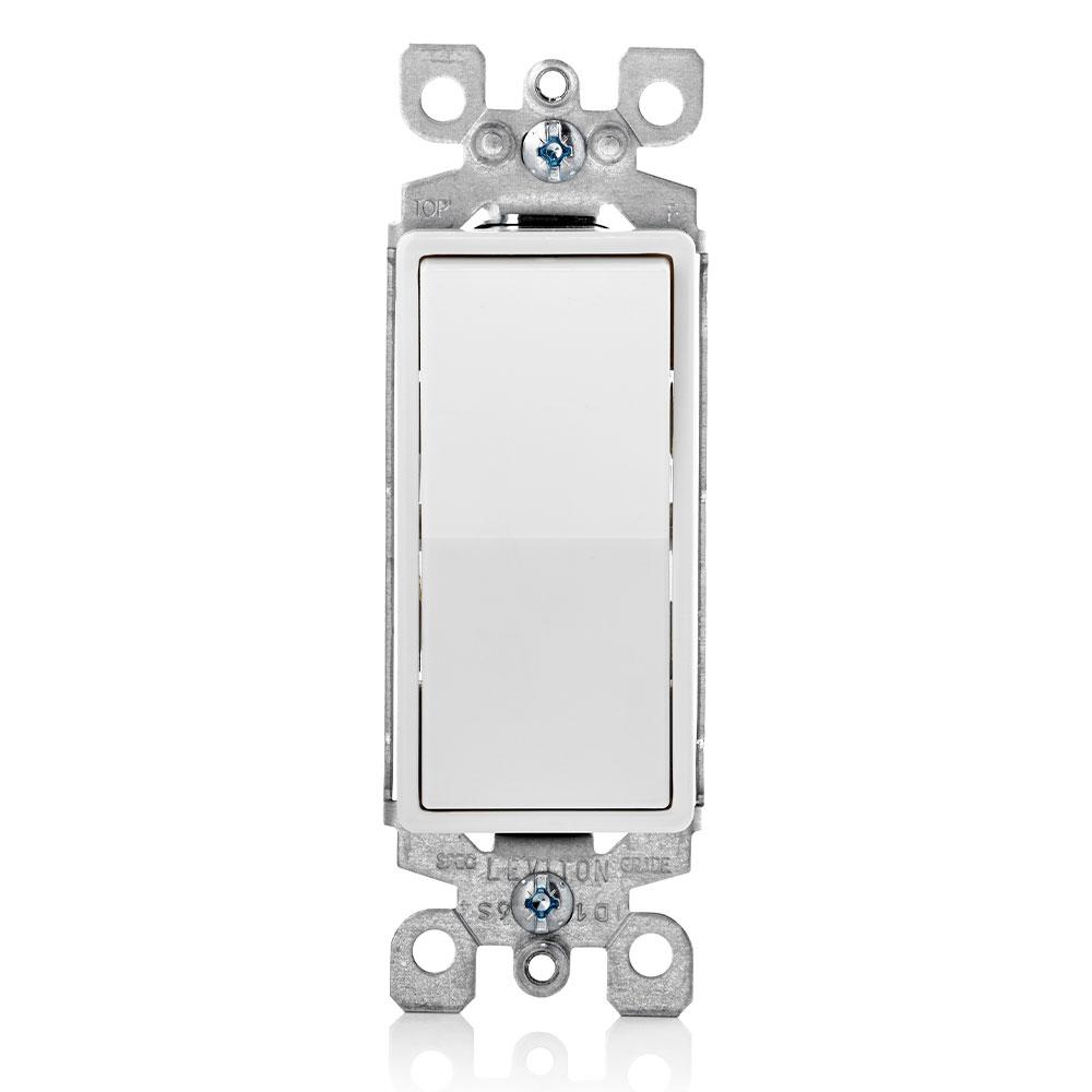 Leviton 5603-2W 120/277 VAC 15 Amp 2 Hp 3-Way White Thermoplastic Grounding Standard Rocker Decorator Quiet Switch