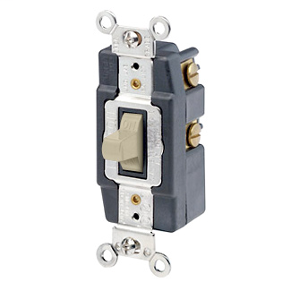 15 Amp, 120/277 Volt, Toggle Double-Throw Ctr-OFF Maintained Contact Single-Pole AC Quiet Switch, Extra Heavy Duty Spec Grade, Grounding, Back & Side Wired, - Ivory
