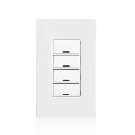IRC Low Voltage Dimming Switch, 4 Button. Compatible with 4 Button Color Change Kits (RDGSW-4Ex). Color: White. Includes a matching screwless snap-on wall plate.