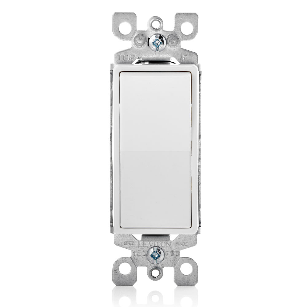 15 Amp, 120/277 Volt, Decora Rocker Single-Pole AC Quiet Switch, Residential Grade, Illuminated When Off, Grounding, Quickwire Push-In & Side Wired - White NOTE: When connected to compact fluorescent lamps or LEDs, the bulb may flicker while switch is in the off position.
