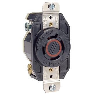 Leviton 2430 480 Volt 20 Amp 3-Pole 4-Wire NEMA L16-20R 5 Hp Black Nylon Grounding Flush Mount Locking Receptacle