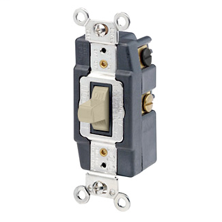 30 Amp, 120/277 Volt, Toggle Double-Throw Ctr-OFF Maintained Contact Double-Pole AC Quiet Switch, Extra Heavy Duty Spec Grade, Grounding, Back & Side Wired - IVORY