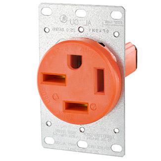 50 Amp, 250 Volt, NEMA 15-50R, 3P, 4W, Flush Mtg Receptacle, Straight Blade, Industrial Grade, Isolated Ground, 3-Phase, Side Wired, Steel Strap, - Orange