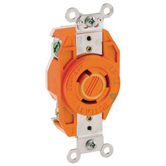 Leviton 2310-IG 125 Volt 20 Amp 2-Pole 3-Wire NEMA L5-20R 1 Hp Orange Resin 357 Flush Mount Locking Receptacle