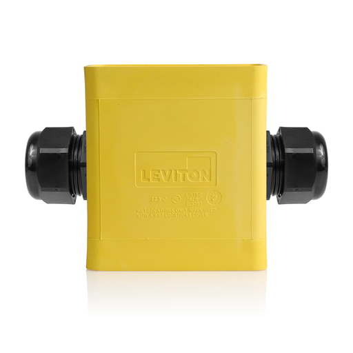 Single-Gang Portable Outlet Box, Extra Deep, Feed-Thru Style, Yellow