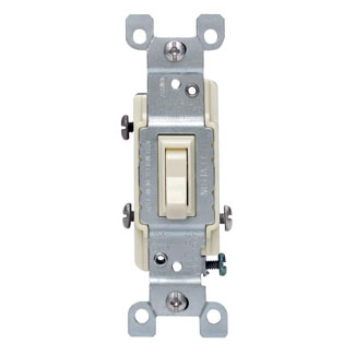 15 Amp, 120 Volt, Toggle Framed 3-Way AC Quiet Switch, Residential Grade, Non-Grounding, Quickwire Push-In & Side Wired, - Ivory