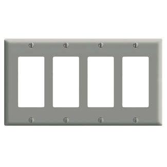 Leviton 80412-GY 8.19 x 0.22 x 4.5 Inch 4-Gang Smooth Gray Thermoset Device Mount Standard Receptacle Wallplate
