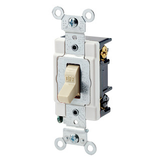 20 Amp, 120/277 Volt, Toggle 3-Way AC Quiet Switch, Heavy Duty Spec Grade, Grounding, Back & Side Wired - IVORY