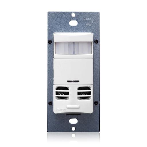 Leviton OSSMT-MDW White 120/277V Decora Wall Switch Occupancy Sensor Self-Adjusting PIR & Ultrasonic 800 Watt @ 120V Incandescent (1200VA @ 120V / 2700VA @ 277V Fluorescent) 2400 Square Foot @ 180 Degree (Plate Not Included)