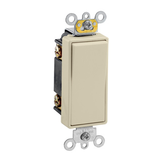 20 Amp, 120/277 Volt, Decora Plus Rocker Double-Pole AC Quiet Switch, Commercial Spec Grade, Self Grounding, Back & Side Wired, - Light Almond