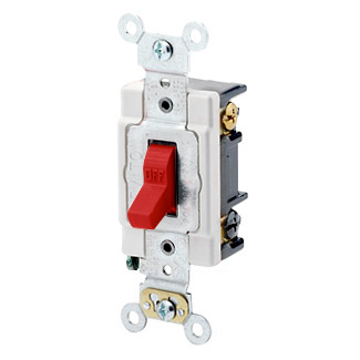 20 Amp, 120/277 Volt, Toggle 3-Way AC Quiet Switch, Heavy Duty Spec Grade, Grounding, Back & Side Wired - RED