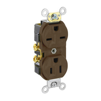 Duplex Receptacle Outlet, Commercial Specification Grade, Dual Voltage, Indented Face, 15 Amp, 125/250 Volt, Side Wire, NEMA 5-15R_6-15R, 2-Pole, 3-Wire, Self-Grounding - Brown