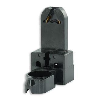 Medium Base, Bi-Pin, Standard Fluorescent Lampholder, Pedestal, Screw Mount, Turn-Type, w/ Starter Base, 2-Screw Terminal - Black