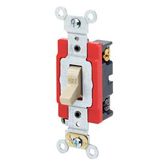 Leviton 1224-2I 120/277 VAC 20 Amp 2 Hp 4-Way Ivory Thermoplastic Self Grounding Toggle Quiet Switch