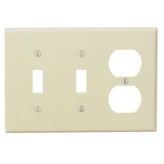 Leviton 86021 6.38 x 0.22 x 4.5 Inch 3-Gang Smooth Ivory Thermoset Device Mount Standard Combination Wallplate
