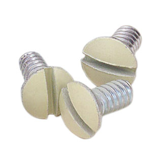 """5/16"""" Long 6-32 Thread. Oval Head Milled Slot Replacement Wallplate Screws. Ivory"""