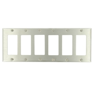 Leviton 84436-40 6-Gang Decora/GFCI Device Mount Standard Size 302 Stainless Steel Decora Wallplate