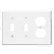 Wallplate; 3-Gang, Midway Size. Combination Device; 2 Toggle/1 Duplex outlet opening. High Impact thermoplastic. Device Mount. White.