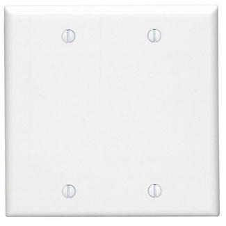 Leviton 88025 4.56 x 0.22 x 4.5 Inch 2-Gang Smooth White Thermoset Box Mount Standard Blank Wallplate