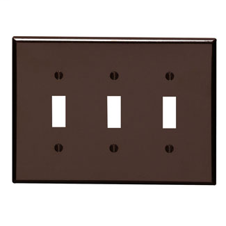 3-Gang Toggle Device Switch Wallplate, Midway Size, Thermoset, Device Mount - Brown