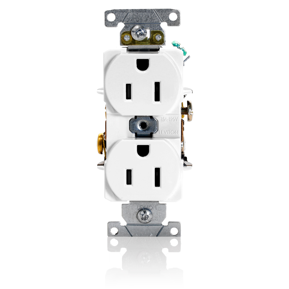 Duplex Receptacle Outlet, Heavy-Duty Industrial Specification Grade, Smooth Face, 15 Amp, 125 Volt, Back or Side Wire, NEMA 5-15R, 2-Pole, 3-Wire, Self-Grounding - White