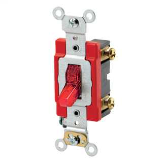 20 Amp, 277 Volt, Toggle Pilot Light - Illuminated ON - Req. Neutral Single-Pole AC Quiet Switch, Industrial Grade, Self Grounding, Back & Side Wired, - Red