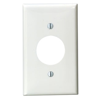 Leviton 80704-W 2.75 x 0.215 x 4.5 Inch 1-Gang Smooth White Thermoplastic Nylon Device Mount Standard Receptacle Wallplate