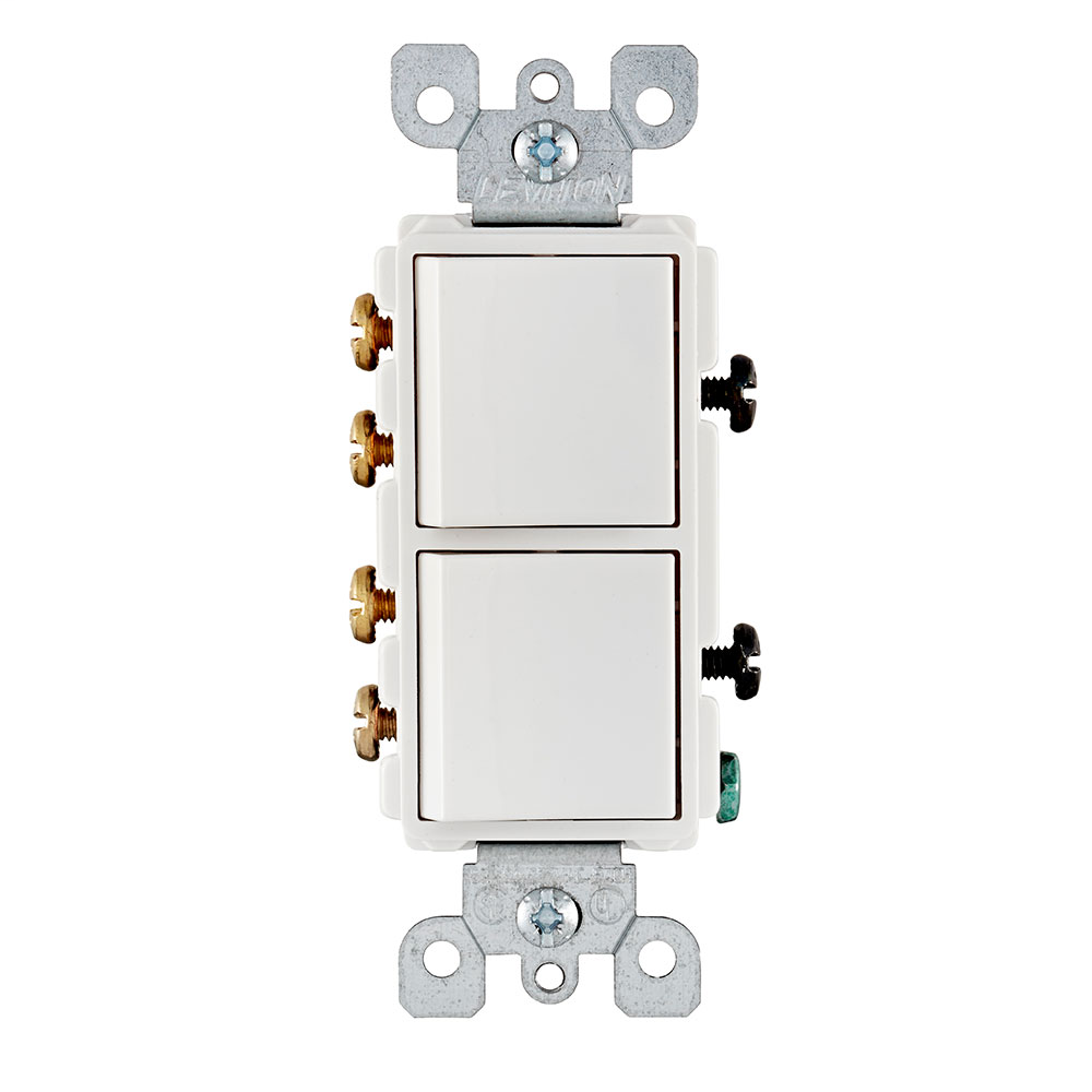 Leviton 5643-W 120/277 Volt 15 Amp 2 Hp 3-Way White Thermoplastic Grounding Decorator AC Combination Switch