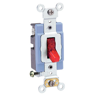 Leviton 1201-PLR 120 VAC 15 Amp 1-Pole 1/2 Hp Red Thermoplastic Self Grounding Illuminated Toggle Quiet Switch