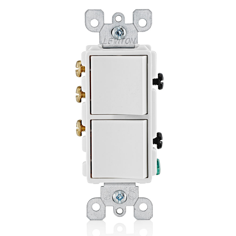 Leviton 5641-W 120/277 Volt 15 Amp 1-Pole 2 Hp 3-Way White Thermoplastic Grounding Decorator AC Combination Switch