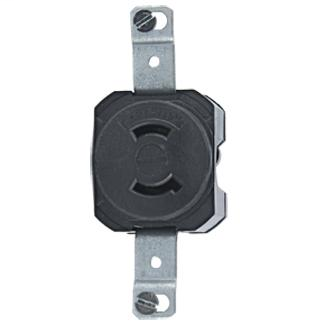 Leviton 7535 125 Volt 15 Amp 2-Pole 2-Wire NEMA L1-15R Black Nylon Non-Grounding Locking Receptacle