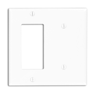 Leviton 80708-W 2-Gang 1-Blank 1-Decora/GFCI Device Standard Size Strap Mount White Combination Wallplate