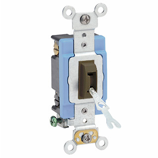 15 Amp, 120/277 Volt, Toggle Locking 4-Way AC Quiet Switch, Industrial Grade, Self Grounding, Back & Side Wired, - Brown