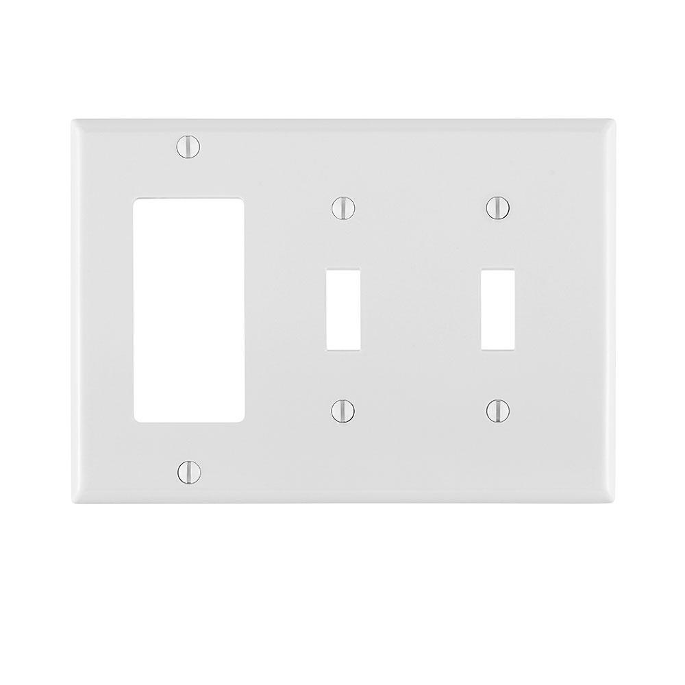 Leviton 80746-W 2-Gang 1-Duplex 1-Decora/GFCI Device Standard Size Thermoplastic Nylon White Combination Wallplate