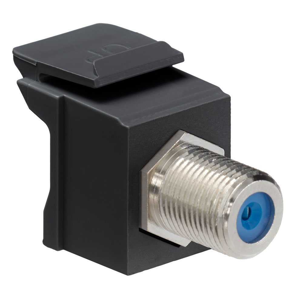 Leviton 41084-FEF 75 Ohm Nickel Plated Black Plastic Female-to-Female Screw-On Feed-Through F-Connector