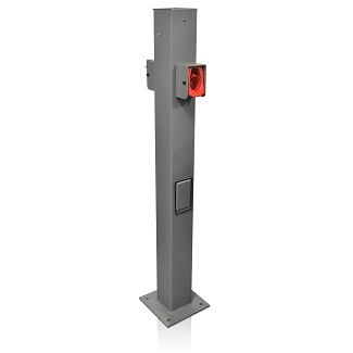 EV Pedestal Mounting Pole and Base that can be used to mount the Evr-Greene30 & e40 electric vehicle chargers.