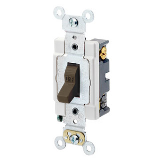 20 Amp, 120/277 Volt, Toggle 4-Way AC Quiet Switch, Heavy Duty Spec Grade, Grounding, Back & Side Wired - BROWN