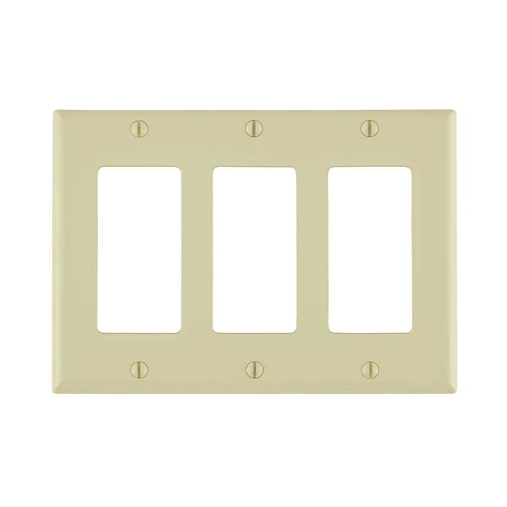 Leviton 80411-NI 6.38 x 0.22 x 4.5 Inch 3-Gang Smooth Ivory Thermoplastic Nylon Device Mount Standard Receptacle Wallplate