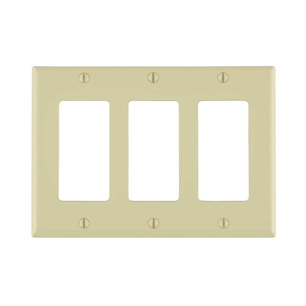 3-Gang Decora/GFCI Device Decora Wallplate/Faceplate, Standard Size, Thermoplastic Nylon, Device Mount, - Ivory