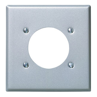 2-Gang Power Receptacle Wallplate, Flush Mount, 2.465 Inch Dia. Opening, Standard Size, Device Mount, Steel - Aluminum Finish