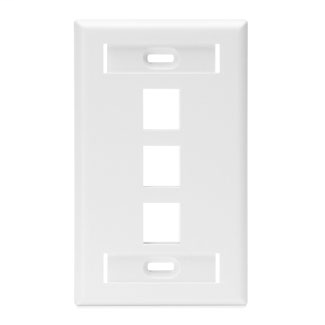 Single-Gang QuickPort Wallplate with ID Windows, 3-Port, White