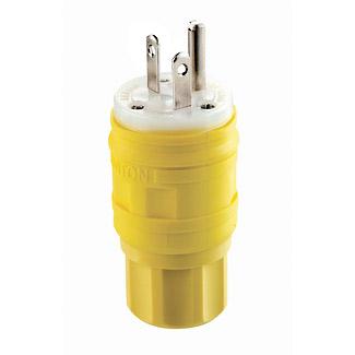 Leviton 14W33 125 Volt 20 Amp 2-Pole 3-Wire NEMA 5-20P Yellow Thermoplastic Vulcanizate Grounding Polarized Straight Blade Plug