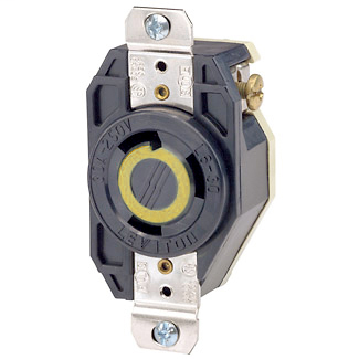 Leviton 2610 125 Volt 30 Amp 2-Pole 3-Wire NEMA L5-30R 2 Hp Black Nylon Grounding Flush Mount Locking Receptacle